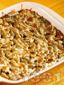 Печен зелен фасул / зелен боб от консерва или буркан с ориз и пармезан в тава на фурна - снимка на рецептата